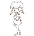 A simple sketch of a young girl drinking vector