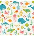 Cute underwater life pattern vector
