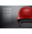 Baseball red helmet front view  isolated vector