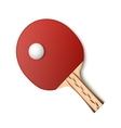 Table tennis red racket and ball vector