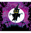 Creepy scarecrow in a night scene vector