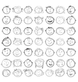 Different children faces cartoon vector