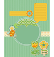 Baby card with bee and flowers - for scrapbook and vector