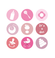 Girl baby things icons vector