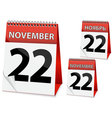 Icon calendar thanksgiving day vector