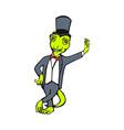 Cartoon gecko with top hat bow tie tuxedo standing vector