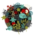 Round label pattern with flora and fish vector
