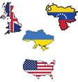 Flag in map of ukukraineunited statesvenezuela vector