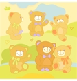 Set teddy bears in rznyh poses on the nature vector