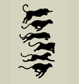 Leopard running silhouettes vector