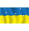 The ukrainian flag with bullet holes vector