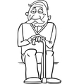 Senior with cane coloring page vector