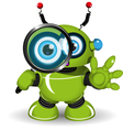 Robot with a magnifying glass vector