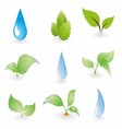 Leaf and water drops on a blue background vector
