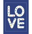 Abstract hanging jewels striped love text vector