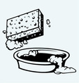 Sponge and bowl of water vector
