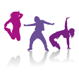 Silhouettes of girls dancing hip-hop dance vector