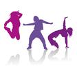 Silhouettes of girls dancing hip-hop dance vector