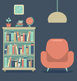 Modern design interior sofa and book cabinet vector