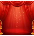 Red curtains theater scene vector