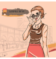 Glamour woman in glasses vector