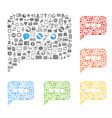 Abstract talking clouds of web icons collection vector