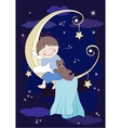Little baby and teddy sleeps on the moon vector