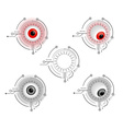 Red and gray cyborg eyes vector