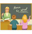 Teacher at blackboard in classroom with children vector