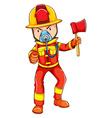 A simple coloured sketch of a fireman vector