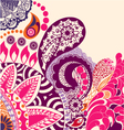 Beauty flowers and paisley pattern vector
