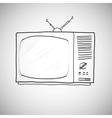 Hand drawn retro tv vector