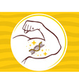 Strong man hand with icon of dna molecul vector