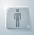 Glass square icon silhouette of a man vector
