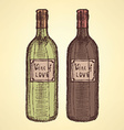 Sketch wine bottle in vintage style vector