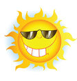 Sun cartoon mascot character with sunglasses vector