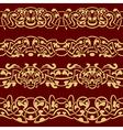 Collection of gold floral seamless border design e vector