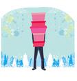 Christmas shopping - winter sale card man shopping vector
