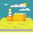 Industrial factory building - vector