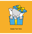 Elephant inside a gift package vector