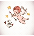 Doodle vintage greeting card with cartoon cupid vector