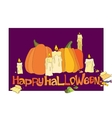 Halloween pumpkin candles and candies vector