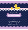Baby shower invitation with duck in retro style vector