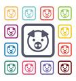 Pig flat icons set vector