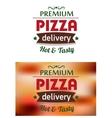 Premium pizza delivery emblem logo vector