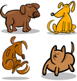 Cute cartoon dogs or puppies set vector