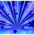 Abstract blue background with stars and radiating vector