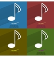 Color set music elements notes web icon flat vector