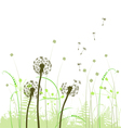 Meadow weeds and dandelions silhouettes vector