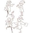 A plain sketch of a graduation ceremony vector